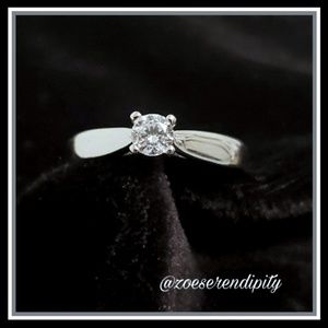 Sterling Silver Rhodium Engagement Ring